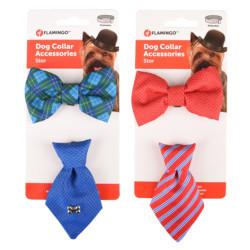 Accessoire pour collier 1 cravate et 1 Noeud papillon. bleu ou rouge. pour chien Collier Flamingo FL-518993