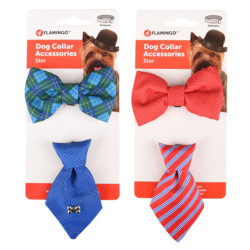 Accessory for necklace 1 tie and 1 bow tie. blue or red. for dog Flamingo collar FL-518993