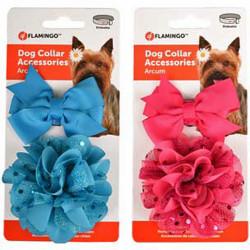 Flamingo Accessoire pour collier 1 noeud et 1 fleur. bleu ou rose . pour chien FL-518992 Collier