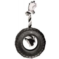 gladiator rubber toy tire and rope 20 cm black for dog Flamingo toy FL-518080