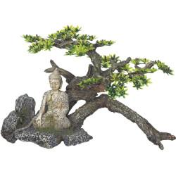 Bouddha avec arbuste 325 x 165 x 210 mm décoration aquarium Décoration et autre  Vadigran VA-15215