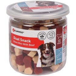 "Snack treat for dogs ""dual mini mini Bone beef flavor 160 gr Flamingo dog snack FL-518575"