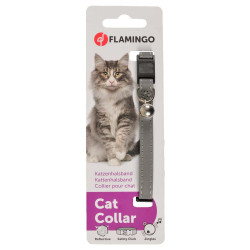 Flamingo FL-28092 1 Reflective silver grey collar for cats collier laisse cage