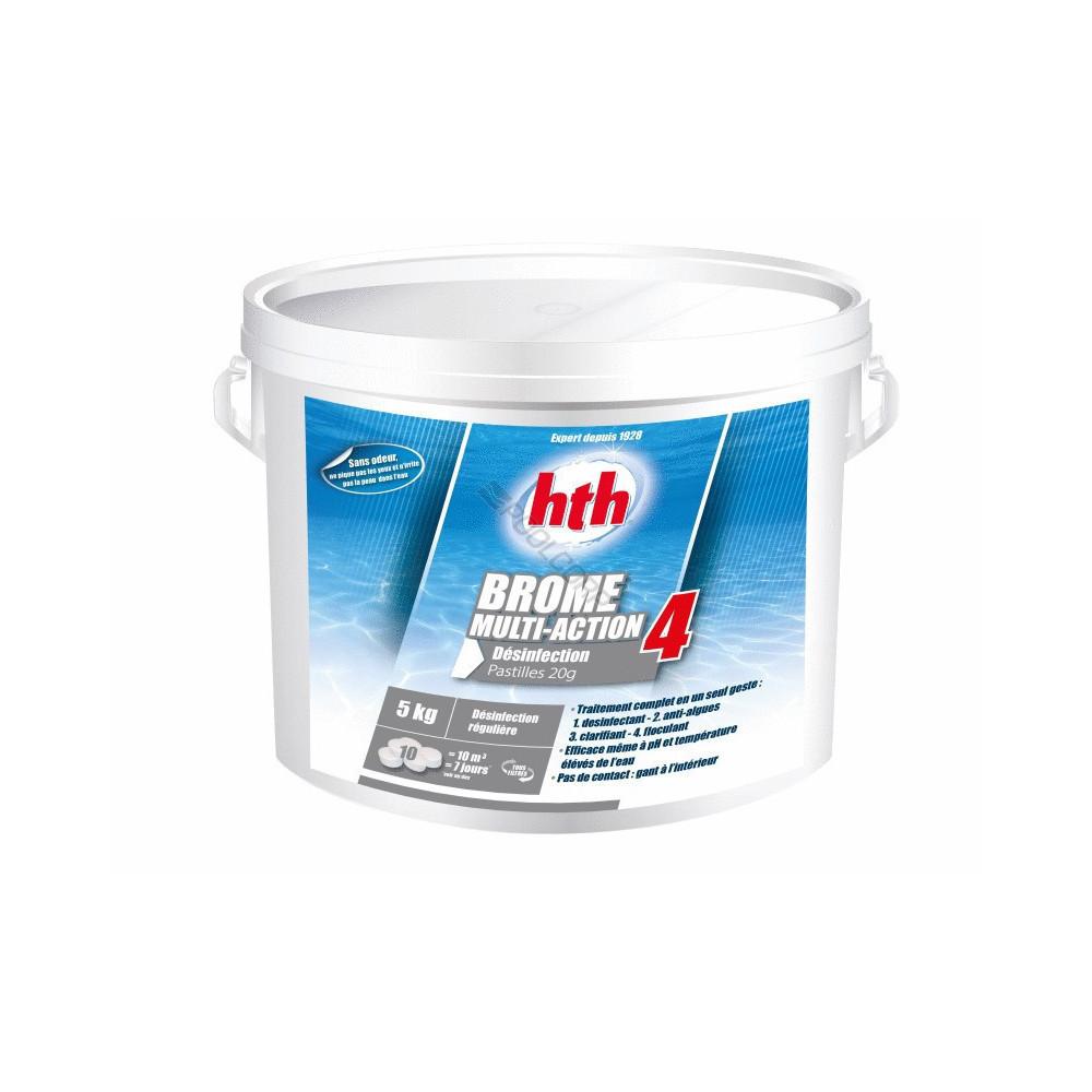 HTH Brome multifonction 4 Action - pastille 20 g - HTH 5Kg - piscine SC-AWC-500-0228 produit de traitement SPA
