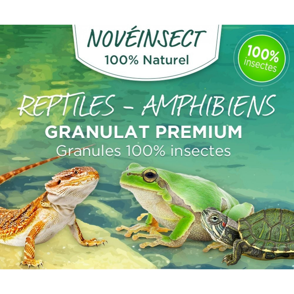 novealand GR2-110-LEZ Food for reptiles, turtles, salamanders, frogs granules 100 % insects - 110 grams Food and drink