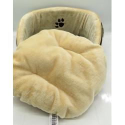 Flamingo Panier luxe 45 x 45 x 20 cm beige et marron pour chat FL-504507 Couchage