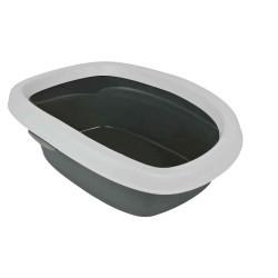 Trixie Bac à litière Carlo, avec rebord 31 × 14 × 43 cm grise . pour chat TR-40111 Bacs a litière