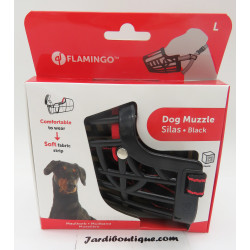 Flamingo Muselière SILAS L noir 31 cm 38-52 cm. pour chien. FL-519656 dressage chien