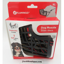 Flamingo FL-519657 Muzzle SILAS XL black 40 cm 44-59 cm. for dogs. Muselière