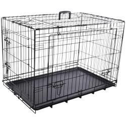 Flamingo Cage NYO noir M. 47 x 77 x 53.5 cm. en métal avec porte coulissante. pour chien FL-519488 Cage de transport