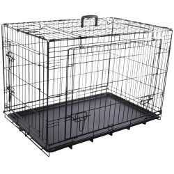 Flamingo FL-519488 NYO black cage M.47 x 77 x 53.5 cm. in metal with sliding door. for dogs Transport cage