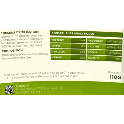 Feeding dehydrated larvae granules 110 grams Noveland food GR2-110-APJ