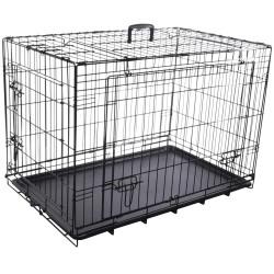 Cage NYO noir L. 59 x 93 x 62.5 cm. en métal avec porte coulissante. pour chien Cage de transport Flamingo FL-519489