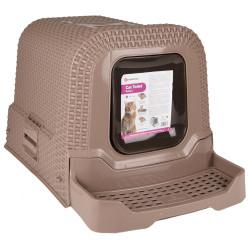 Flamingo Maison de toilette 42 x 69 x 41 cm Rattan Taupe pour chat FL-560713 Maison de toilette