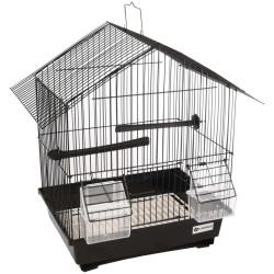 FL-110215 Flamingo Jaula para canarios, Lombok, color negro, tamaño 36.5 cm por 25 cm y 38 cm, para aves Jaulas, pajareras, n...