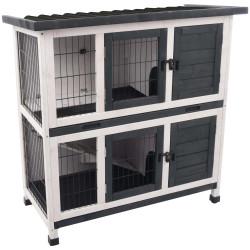 FL-210158 Flamingo Caja de madera para conejos Combi 1 rústico.100 x 50 x 102 cm. para conejos. Hutchman
