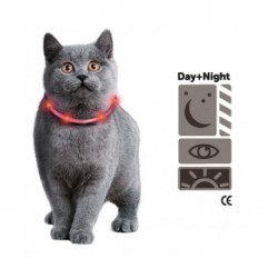 Flamingo FL-64965 Necklace for bright cat with LED light, orange color of 35 cm. collier laisse cage