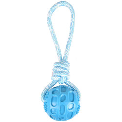 Flamingo Jouet Balle + corde à tirer RUDO. couleur bleu. 26 cm. TPR. pour chien. FL-519502 Jouet