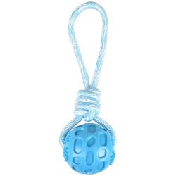 FL-519502 Flamingo Pelota RUDO + cordón de juguete color azul. 26 cm. TPR. para perros. Jeux