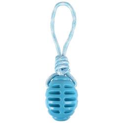 Jouet Rugby + corde à tirer bleu 30.5 cm. RUDO. en TPR. pour chien. Jouet Flamingo FL-519500