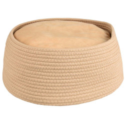 Flamingo FL-560827 Basket + round cushion HEBE. ø 33 x 15 cm. beige color. for cats. Sleeping
