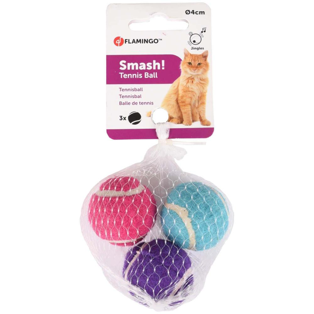 Flamingo FL-560706 Cat toy 3 multicoloured tennis balls ø 4 cm + bell Games