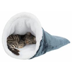Sac douillet PAUL . ø 30 x 50 cm. pour chat. couleur blanc et bleu. Couchage Trixie TR-36390