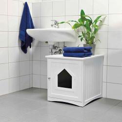 Trixie Weiße Katzentoilette mit versteckter Hütte. Für Katzen. 49 x 51 x 51 cm. TR-40290 wurfzubehör