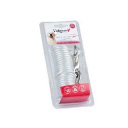 Câble d'attache avec câble en spirale de 3.6 m. Max 50 kilo. pour chien Longe et piquet Vadigran VA-13597