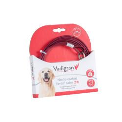 Câble d'attache gainée plastique rouge 3 Mètres. Max 23 kg pour chien. Longe et piquet Vadigran VA-13593