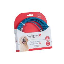 Câble d'attache gainée plastique bleu 6 Mètres. Max 23 kg pour chien. Longe et piquet Vadigran VA-13594