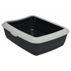 Trixie Bac à litière grise foncé avec rebord gris clair 37 × 47 × 15 cm H pour chats TR-40312 Bacs a litière