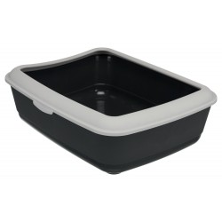 Bac à litière grise foncé avec rebord gris clair pour chats 37 × 15 × 47 cm accessoire litière Trixie TR-40312