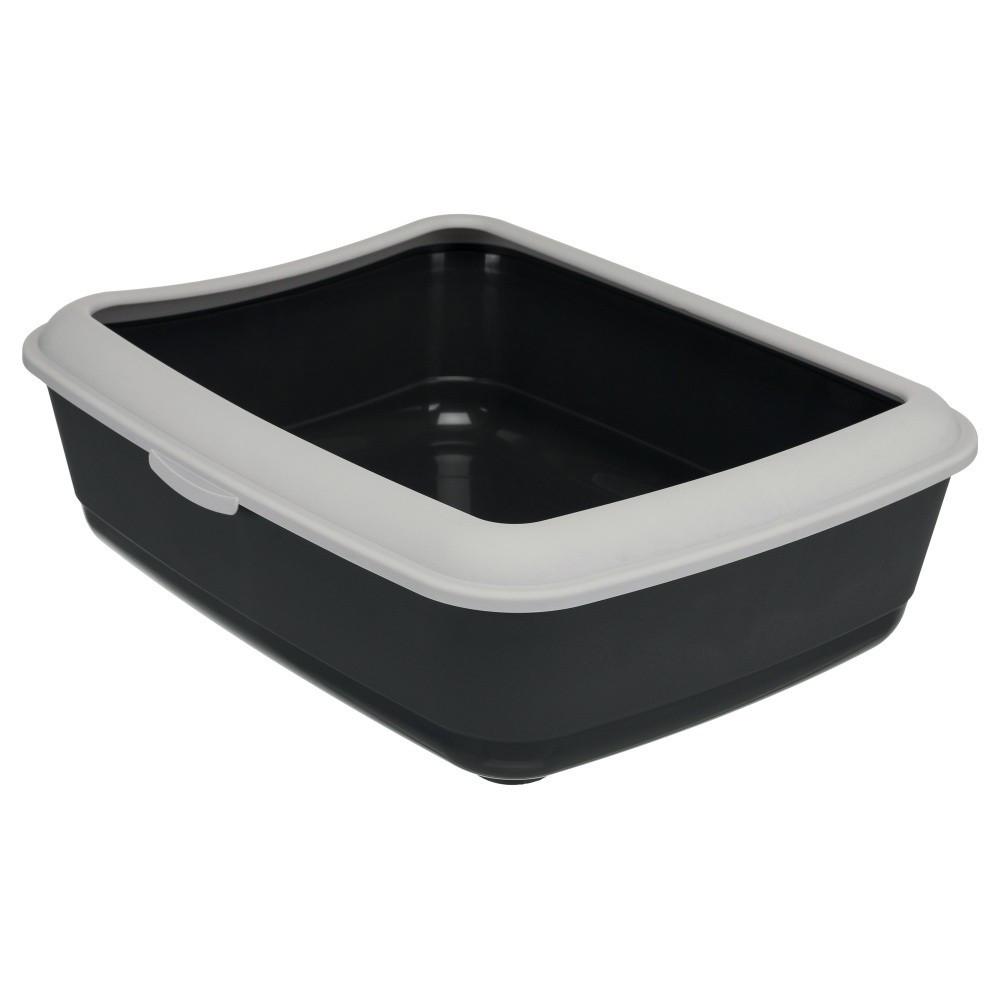Bac à litière grise foncé avec rebord gris clair 37 × 47 × 15 cm H pour chats Bacs a litière Trixie TR-40312