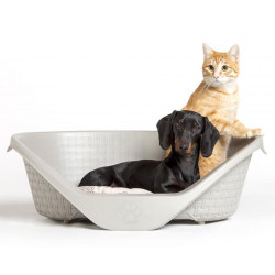 corbeille aspect rotin 60 x 44 x 21 cm H pour chien gamme Nido. couleur gris clair Dodo Bama pet FL-517630