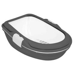 Bac à litière Berto XL. 47 × 26 × 69 cm. grise et blanche . pour chat Bacs a litière Trixie TR-40171