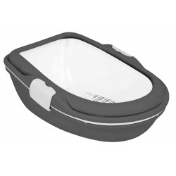 Trixie Bac à litière Berto XL. 47 × 26 × 69 cm. grise et blanche . pour chat TR-40171 Bacs a litière