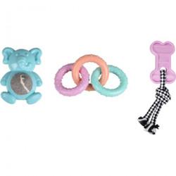 FL-519715 Flamingo juego de 3 juguetes para cachorros. LOEKIE. TPR Puppy. Cachorro