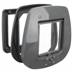 Trixie TR-44222 4 position cat flap 27 × 26 cm grey exterior. Cat flap