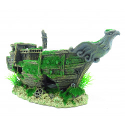 Flamingo FL-410192 Wrecked boat, KOZMA, size: 32 x 13 x 16 cm, aquarium decoration Decoration and other