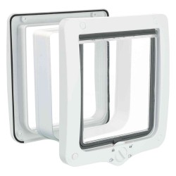 Trixie TR-44241 4 position XL cat flap with tunnel 24 × 28 cm outside .white .for cats Cat flap