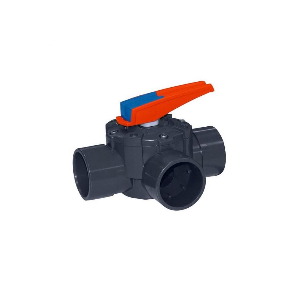 Cepex ø 50 mm, three-way valve. Swimming pool valve