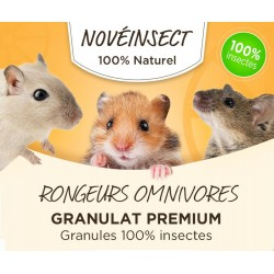 nourriture pour Rongeurs omnivores granulat premium 100% insectes. - 110 grammes. Nourriture novealand GR2-110-RO