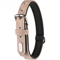 Flamingo Pet Products Collar size M-L. in imitation leather and neoprene. DELU, taupe color. for dog. Necklace