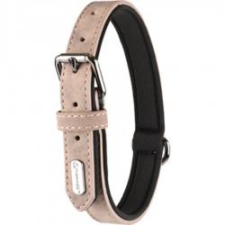 Flamingo Collier taille M-L. en simili cuir et néoprène . DELU, couleur taupe. pour chien. FL-519318 Halskette