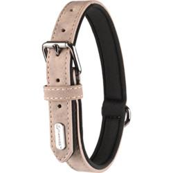 Flamingo FL-519319 Collier taille L. en simili cuir et néoprène . DELU, couleur taupe. pour chien. Necklace