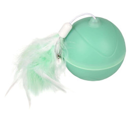 Flamingo FL-560769 Ball ø 7 cm. magic Mechta 2 in 1 with LED and feather duster . green colour. for cats. Games