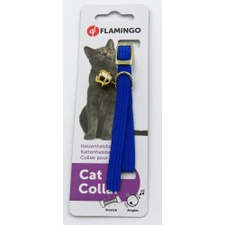 Flamingo Collier taille 32 cm x 10 mm. collier élastique avec clochette.couleur bleu. pour chat FL-50062007 Collier, laisse, ...