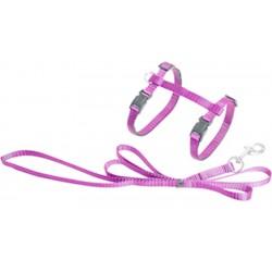 Flamingo FL-1031205 Harnais et laisse de 1.10 mètre pour chat. couleur rose collier laisse cage