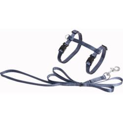 Flamingo Harnais et laisse de 1.10 mètre pour chat. couleur bleu granite FL-1031206 Halsband, Leine, Gurtzeug, Gurtzeug